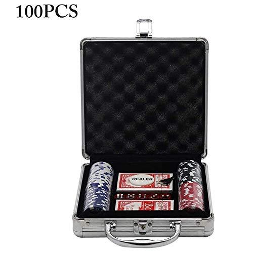 LGFB Blackjack-Sets 100 Stücke von Chips Kartenspiel Poker für Familie Freunde Sponsored Glücksspiel-Unterhaltung mit Aluminium Koffer