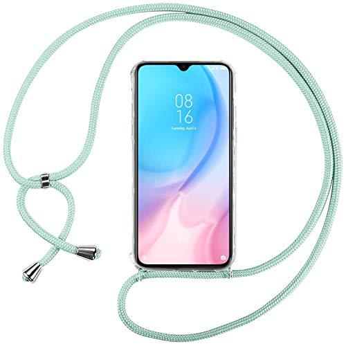 Ingen Funda con Cuerda para Xiaomi Mi 9 Lite/Mi CC9 - Carcasa Transparente TPU Suave Silicona Case con Colgante - Verde
