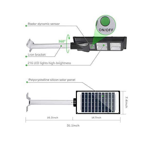 60W Solar Street Light, IP66 Waterproof Outdoor 6000LM Solar Powered Street Lamp Dusk to Dawn with Motion Sensor for…