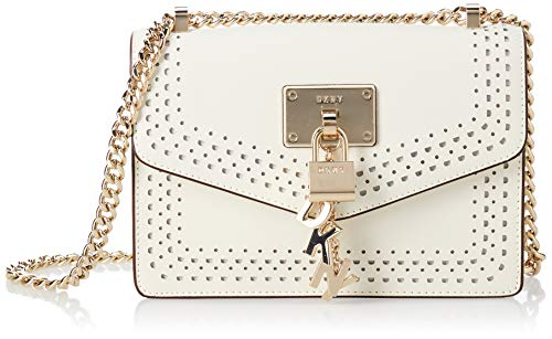 DKNY Elissa Small Shoulder Flap White/Gold