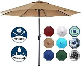 Blissun 9' Outdoor Aluminum Patio Umbrella, Striped Patio Umbrella, Market Striped Umbrella with Push Button Tilt and Crank (Tan)