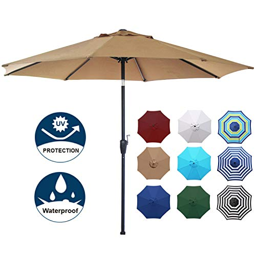 Blissun 9' Outdoor Aluminum Patio Umbrella, Striped Patio Umbrella, Market Striped Umbrella with Push Button Tilt and Crank (Tan)