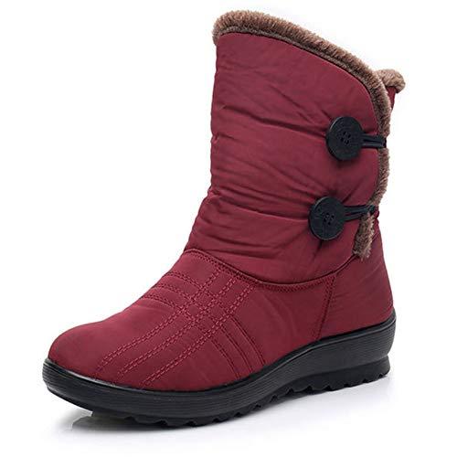 Alebaba - Botas de nieve antideslizantes para mujer, botas de invierno cálidas, impermeables, zapatos de madre de invierno, zapatos de mujer más botas de algodón, color Rojo, talla 39 EU