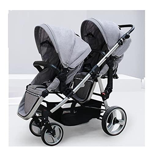 jiji sillas de Paseo Vista Alta Twin Cochecito, Dos niños viajan en un Solo Cochecito, suspensión de Cuatro Ruedas, Tres Engranajes de Ajuste de Engranajes. Cochecito de bebé (Color : Linen Gray)