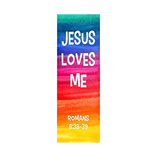 Jesus Loves Me Bookmarks - Bible Verse - Mega Pack - Religious Bookmarks - Bookmarks for Kids - Rainbow Colors -100 Count