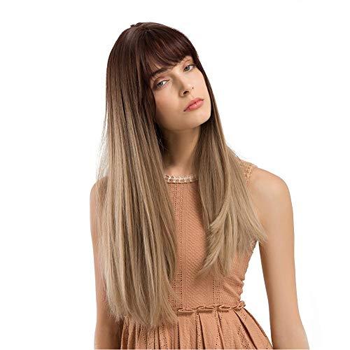 Knowledgi - Peluca larga de seda con pelo liso marrón y dorado con detalles en negro y resistente peluca sintética Yaki con accesorios para el pelo de mujer