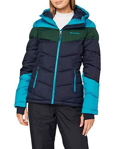 Columbia Damen Isolierte Skijacke, Abbott Peak,Dunkelblau/Blau/Grün (Dark Nocturnal/Fjord Blue/Spruce),M