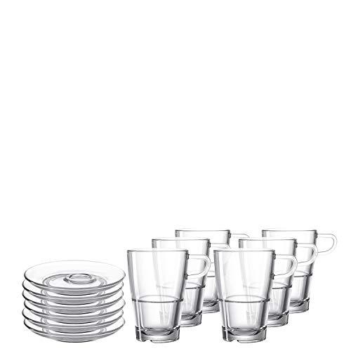 Leonardo Senso Latte-Macchiato Tasse und Unterteller, spülmaschinengeeignete Gläser mit Untertassen, 12er Set, 350 ml, 032831