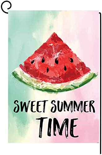 ZF Watermelon Photo Props Sweet Summer Time Theme Garden Flag Watercolor Backdrops Yard Flags Double Sided Burlap Summer Holiday Party Decor Banner House Flag Outdoor Decoration 12.5 x 18 Inch