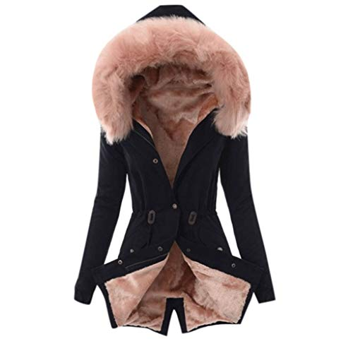 QIQIU Coat Womens Faux Fur Lining Thick Winter Warm Color Block Hooded Long Jacket Buttons Loose Overcoat Pink