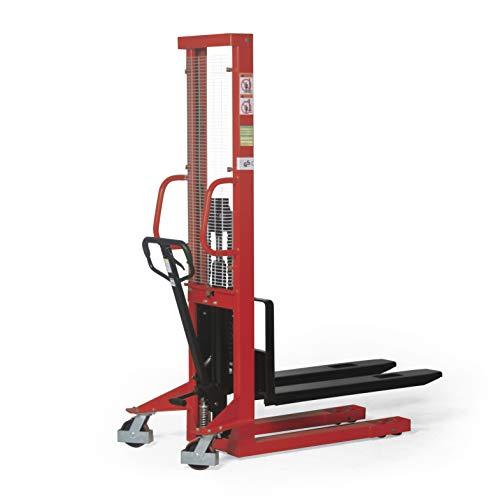 Stabilux Hochhubwagen Handstapler, Traglast 1000 kg, Hubhöhe 1600 mm, Rot