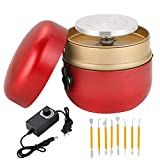 MAOPINER Mini Electric Pottery Wheel Machine | 1500RPM Electric Pottery Wheel for Kids, DIY Clay Wheel Machine, Clay Tool with Tray for Christmas/Birthday Gift (Red)
