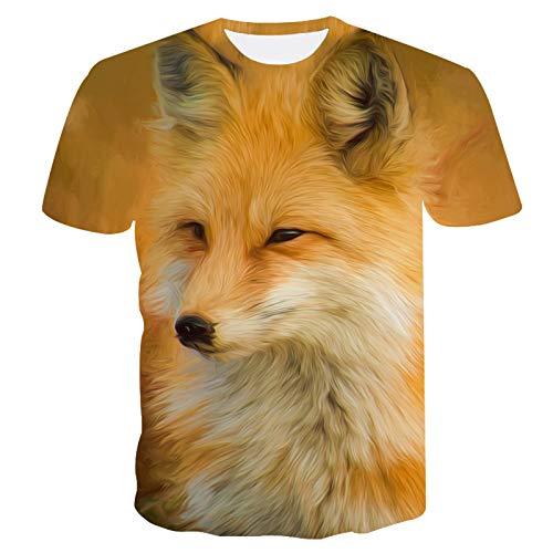 SSBZYES Camiseta para Hombre, Camiseta De Verano De Manga Corta con Cuello Redondo, Camiseta De Talla Grande para Hombre, Camiseta De Moda con Estampado De Zorro para Hombre, Sudadera De Verano para