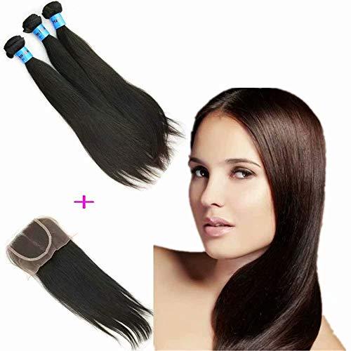 Queengirl vierge Indien Tout droit Armure de cheveux 3 paquets Avec Fermeture à lacets 8A Pas cher Cheveux humains 4x4 Top fermetures Couleur naturell