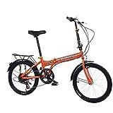 Mdsfe Bicicleta de montaña Bicicleta Plegable Bicicleta neumático Grueso 20 Pulgadas Bicicleta Plegable de Velocidad Variable Bicicleta de Bicicleta Plegable de Viaje para Adultos - Naranja, a2