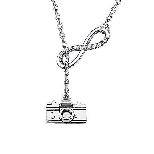 Photographer Gift Camera Infinity Love Charm Y Necklace Travel Jewelry Photography Gifts (silver)