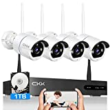 【5MP, 2 Way Audio】Wireless Security Camera System,CKK 8 Channel 5MP NVR with 1TB Hard Drive, 4pcs 5.0 Megapixel (2560 × 1920)WiFi IP Security Surveillance Cameras Outdoor Indoor,Remote View,H.265+ NVR