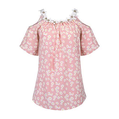 YBWZH Damen Bluse Sommer Frauen Applique Kragen Vintage Top Blumendruck Tops T-Shirt Bluse Trägerloses Kurzarmoberteil Tunika Tops T-Shirt Hemdbluse Blusen