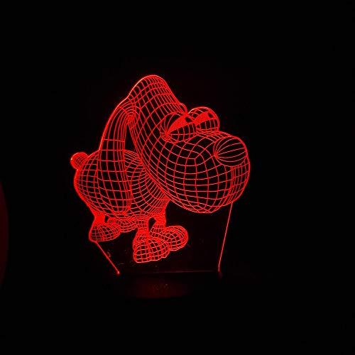3D nachtlampje illusie lamp LED kinderen leuke hond met grote ogen licht sfeerlicht afstandsbediening bedlampje 7 kleuren wisselende afstandsbediening bureau lampen verjaardagscadeau