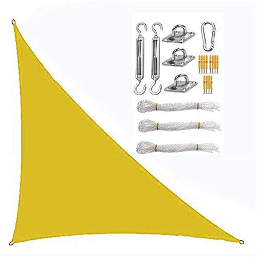 Toldo triángulo de vela con sistema de fijación, protector solar, tela Oxford impermeable anti-UV (4 × 4 × 5,7 m, amarillo)