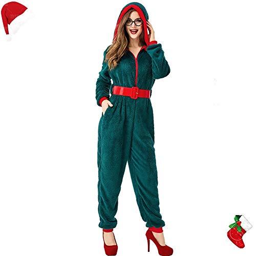 AMMA Kerst kostuum, volwassen vrouwelijke cosplay groene kerstboom vorm casual home dagelijkse jumpsuit