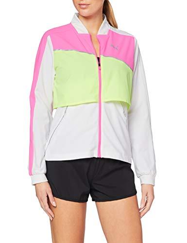 PUMA Run Ultra Jacket Sudadera, Mujer, White/Luminous Pink/Fizzy Yellow, XL