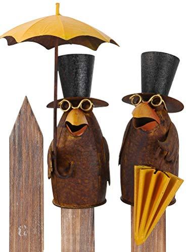 Pommerntraum ® | Zaunfigur Zaunhocker Pfostenhocker Dekofigur Gartendekoration Rabe mit Regenschirm Vogel Vögel (Rabe 1 + 2 - SETPREIS)