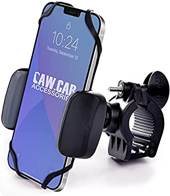 Metal Bike & Motorcycle Phone Mount - for Any Smartphone (iPhone 11 Pro, Xr, Xs Max, S20). Unbreakable Handlebar Cell Phone Holder for Bike & Bicycle from CAW.CAR Accessories
