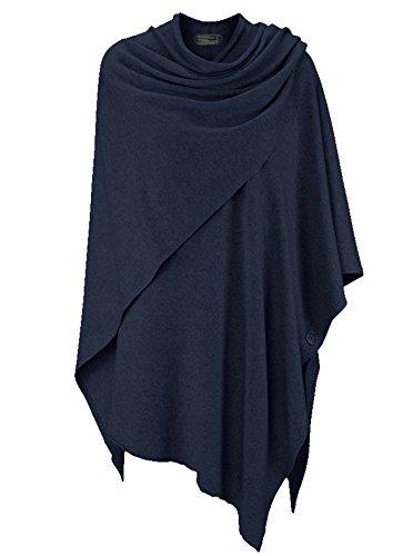 Cashmere Dreams Poncho-Schal mit Kaschmir - Hochwertiges Cape für Damen - XXL Umhängetuch und Tunika mit Ärmel - Strick-Pullover - Sweatshirt - Stola für Sommer und Winter Zwillingsherz - Navy