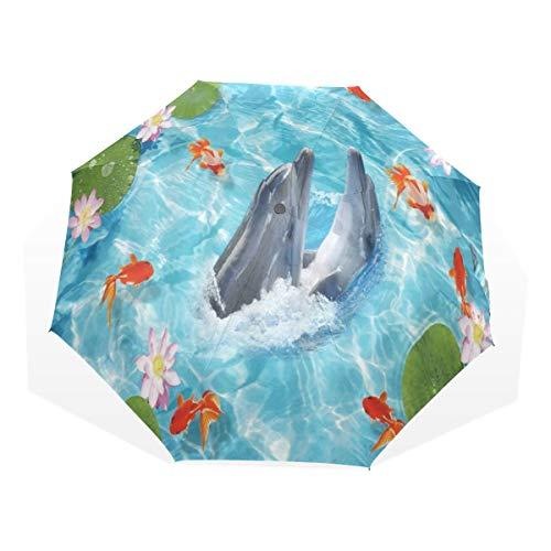 LASINSU Mini Ombrello Portatile Pieghevoli Ombrello Tascabile,Animale Romance Dolphin Immagine Due delfini Abbraccio Danza Mare Pesce rosso Foglia Lotus Audience Look,Antivento Leggero Ombrello
