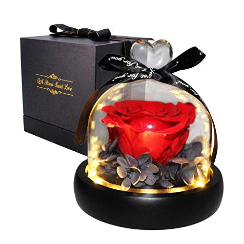 Easy-topbuy Forever Flowers - Rosas eternas reales con LED para siempre, regalo para el día de San Valentín, Acción de Gracias, regalo romántico de flores