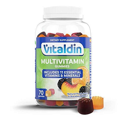 VITALDIN Multivitaminas gummies – Complemento Alimenticio para Mujer y Hombre Adulto con 11 Vitaminas & Minerales - 70 gominolas (suministro para 1 mes), sabor a Frutas – Vitalidad & Inmunidad