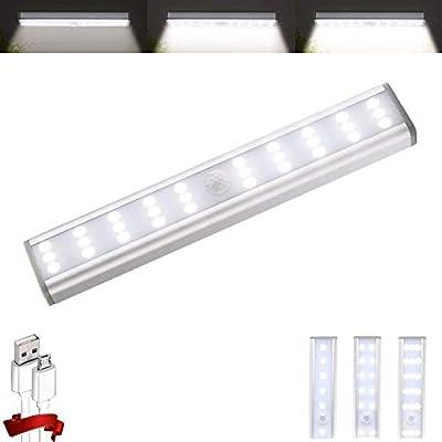 Homelife Closet Lights, 30-LED Stick-on Anywhere Light Wireless Portable Under Cabinet Lights, LED Bars Motion Sensor Magnetic Lights, Built in Rechargeable Battery Safe Lights