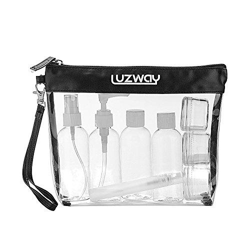 Beauty Case da Viaggio + 8 Bottiglie da viaggio (Max.100ml), LUZWAY Trousse Trasparente, Busta da Viaggio Trasparent,Set da Viaggio per Cosmetici, Kit da Aereo per Liquidi, Set da viaggio PVC Nero