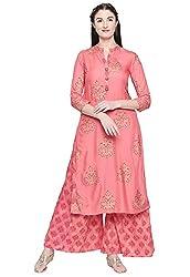 Ishin Womens Pink Rayon A-Line Printed Kurta Palazzo Sets