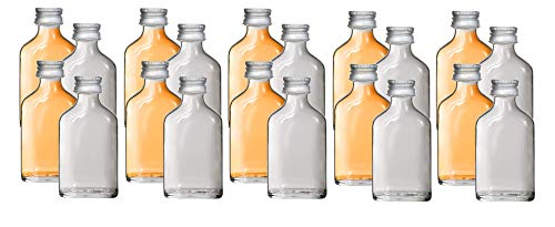 20 x Mini Glasflasche Flachmann 20 ml inkl Trichter