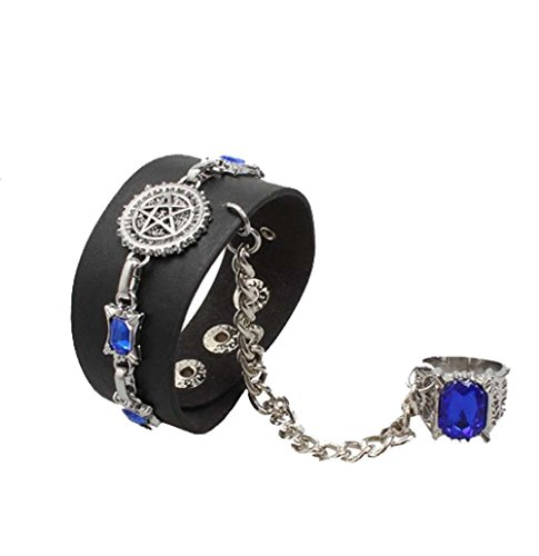 Touirch Anime Black Butler Leather Kuroshitsuji Alloy Bracelet and Ring (B)