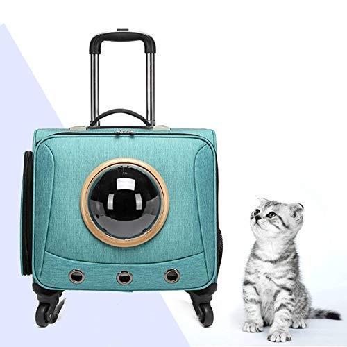 N-B Carrito para Gatos Azul grisáceo, Maleta para Perros Extragrande de 12,5 kg, una Maleta Que Puede Transportar Gatos y Cachorros de Cuatro Ruedas, Adecuada para Mascotas pequeñas y Medianas