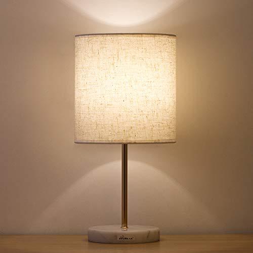 HAITRAL Tischlampe,Kleine Nachttischlampe Kleine Nachttischlampe mit Marmorsockel, Lampe für Schlafzimmer, Büro, Mädchenzimmer