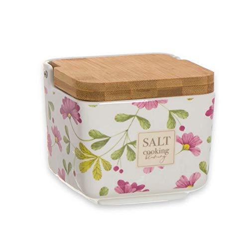Home Gadgets Salero Ceramica con Tapa Madera Floral Market 12 cm