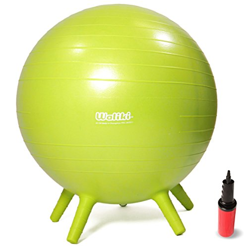 "WALIKI TOYS Children's Chair Ball with Feet, Alternative Classroom Seating (Inflatable Balance Ball Chair With Stability Legs for School, Pump Included, 18""/45CM, Green)"