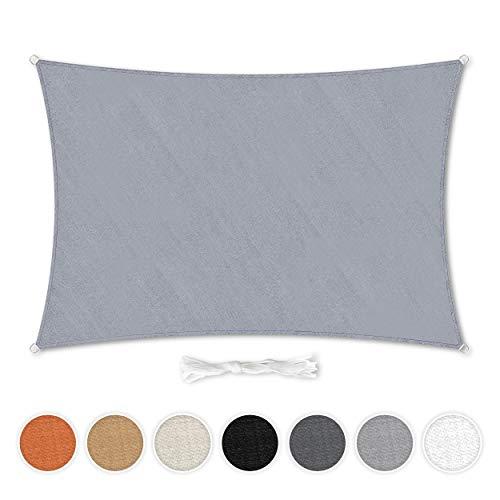Hometex Premium Textiles Sonnensegel 2×3m Rechteckig inkl. Befestigungseile | Hellgrau | Sonnenschutz ideal für Garten, Terrasse, Balkon, Camping | Wind- & wasserabweisender Schattenspender