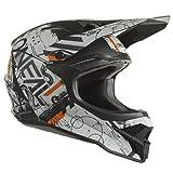 O'NEAL   Casco de Motocross MX Enduro   Carcasa de ABS, Norma de Seguridad ECE 2205, Rejillas de ventilación para una óptima refrigeración   3SRS Scarz V.22 Adulto   Negro Gris Naranja   XS