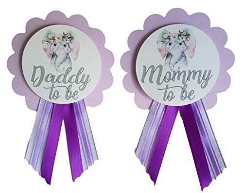 2 Mommy to Be & Daddy to Be Pin Elephant Baby Shower Pins for parents to wear, Purple & White, It's a Girl Baby Sprinkle