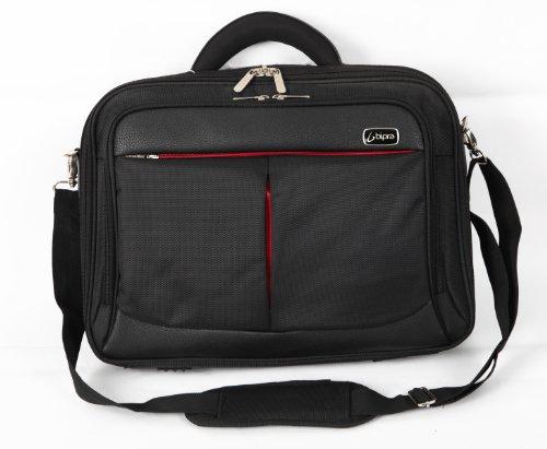 BIPRA Laptop Messenger Bag (15.6 Inch) Executive, Slim, Designer Shoulder Carry Tote | Computer, Tablet, Notebook, Mobile Storage | Padded, Adjustable Strap | Black