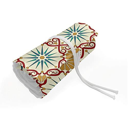 ABAKUHAUS Marokkaans Etui met Rolomslag voor Pennen, geometrische vormen, Duurzame & Draagbare Potloodetui, 72 Vakjes, mosterd Beige