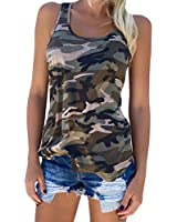 Zcavy Womens Camo Tank Top Lightweight Athletic Shirts Racerback Workout Top Cute Muscle Tank Active Wear Vest Yoga Sport T Shirt Green M