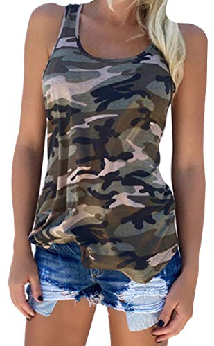Zcavy Womens Camo Tank Top Lightweight Athletic Shirts Racerback Workout Top Cute Muscle Tank Active Wear Vest Yoga Sport T Shirt Green M