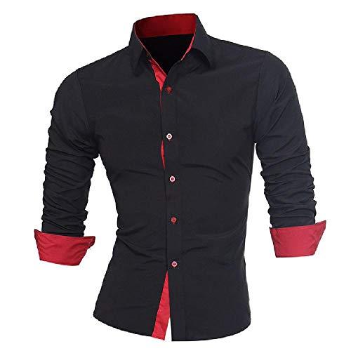 N\P Men's Color Block Buttons Collar Long Sleeve Shirt Slim Fit Top
