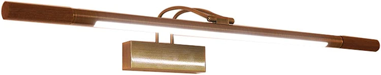 QWM-Badspiegellampe Nordic Simple Spiegel Frontleuchte LED Schminktisch Spiegelschrank Licht Badezimmer Badezimmer Lampe Rubber Walnut Holz Kupfer (Gre  66   76cm) (gre   66cm 7W)